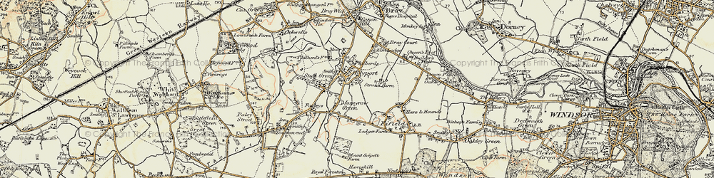Old map of Holyport in 1897-1909
