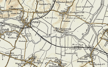 Old map of Holywell in 1901