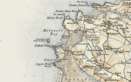 Old map of Holywell Bay in 1900