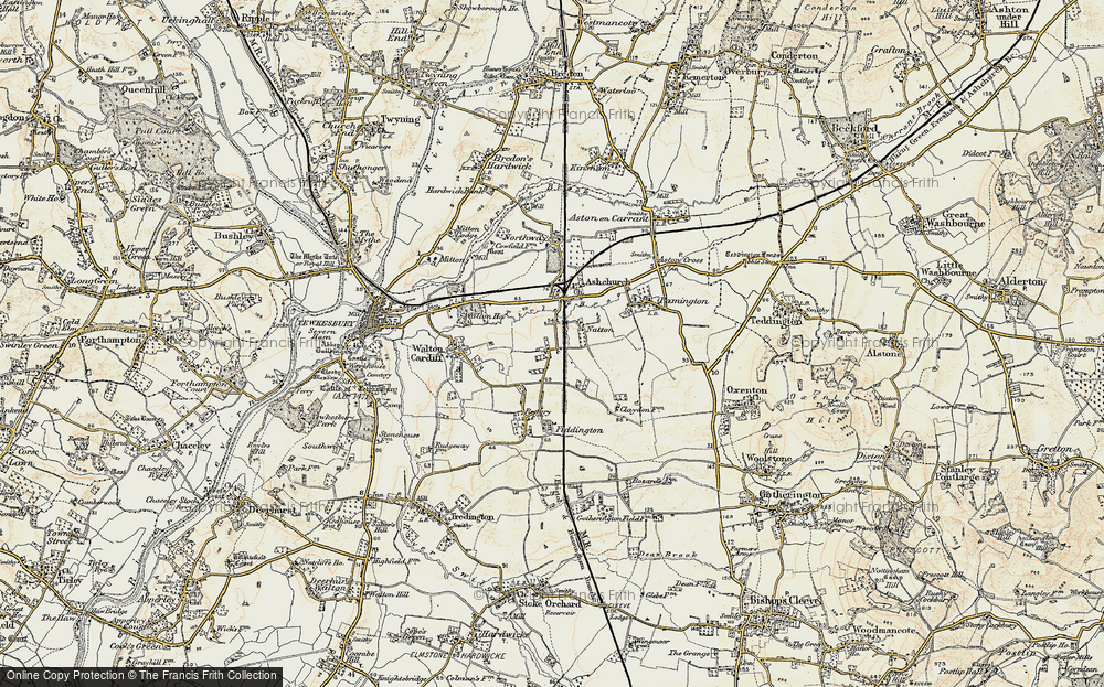 Old Map of Historic Map covering Tirle Brook in 1899-1900