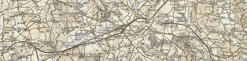 Old map of Honiton in 1898-1900