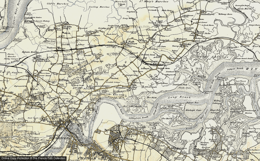 Old Map of Historic Map covering Abbots Court in 1897-1898