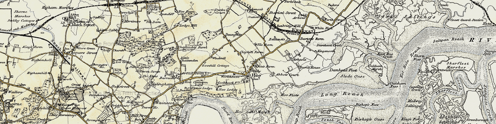 Old map of Abbots Court in 1897-1898