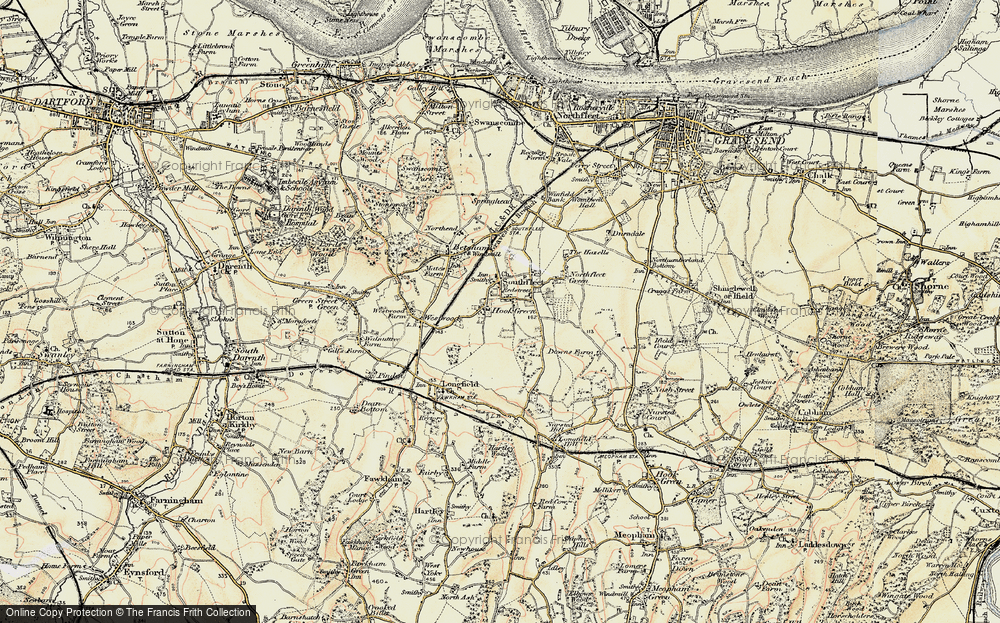 Old Map of Hook Green, 1897-1898 in 1897-1898