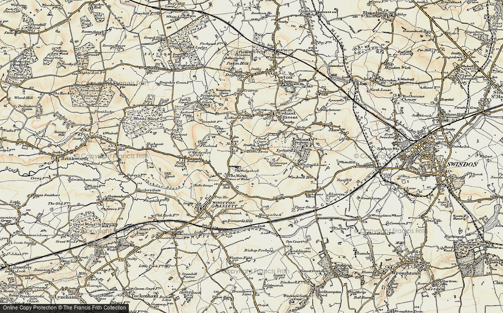 Old Map of Historic Map covering Letterage Copse in 1898-1899