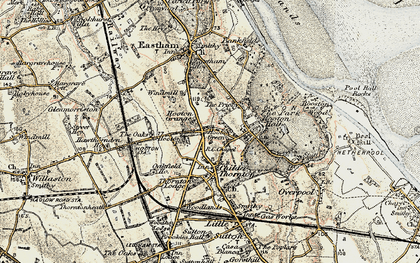 Old map of Hooton in 1902-1903