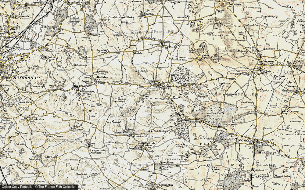 Old Map of Historic Map covering Wood Lee in 1903