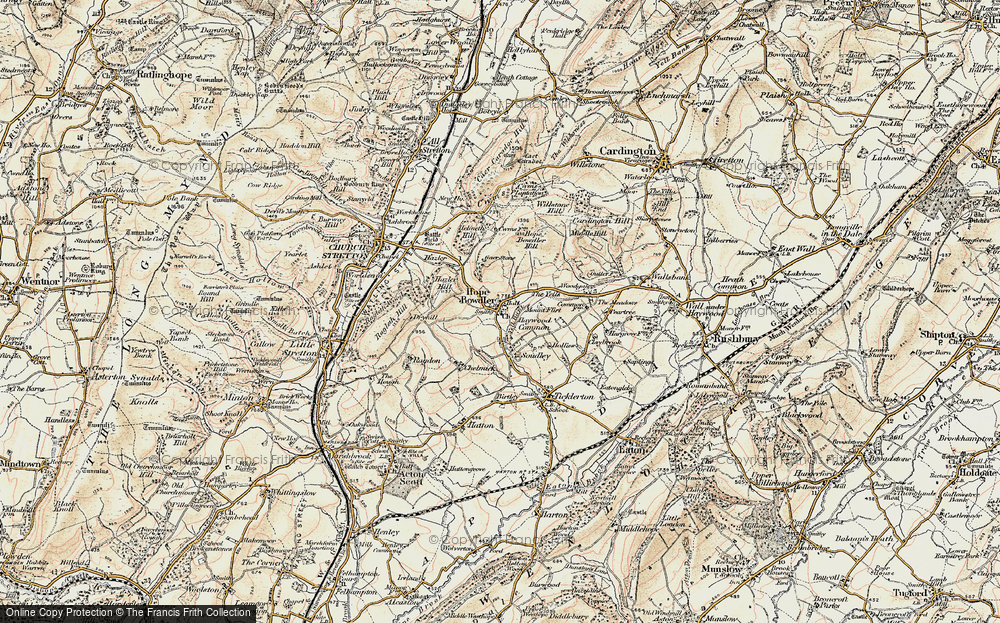 Old Map of Historic Map covering Woodgate Cott in 1902-1903