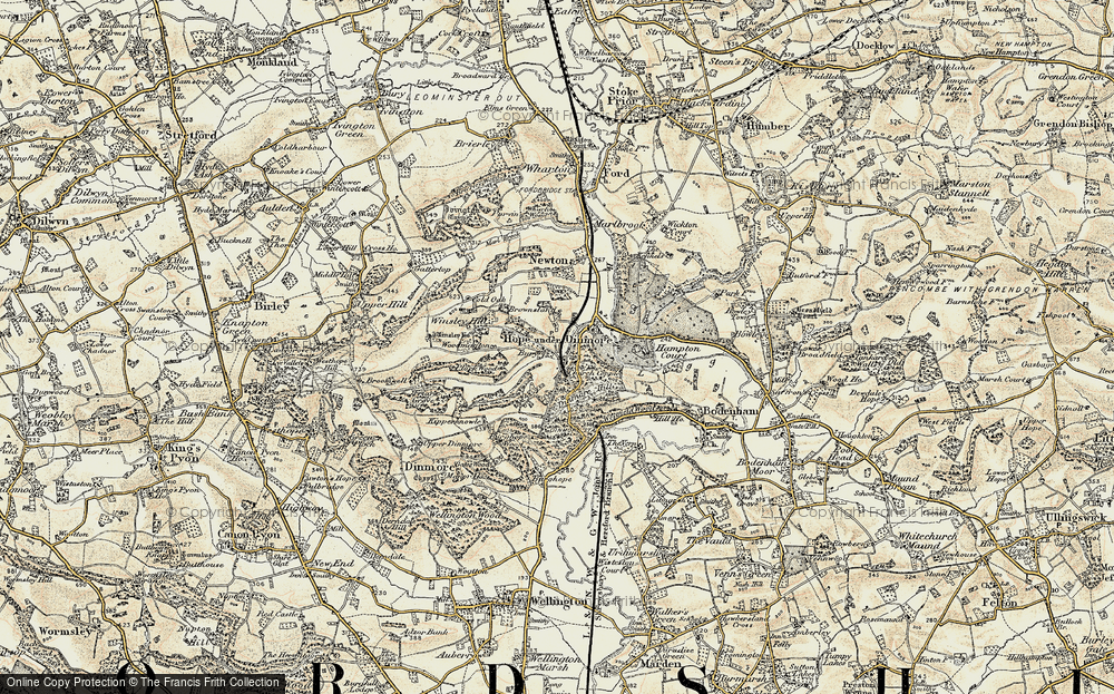 Old Map of Historic Map covering Woodmanton in 1900-1901