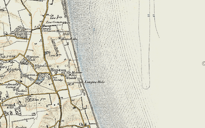 Old map of Hopton on Sea in 1901-1902