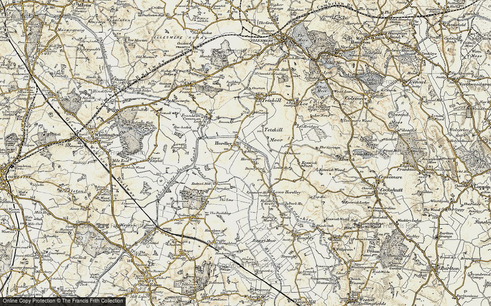 Old Map of Hordley, 1902 in 1902