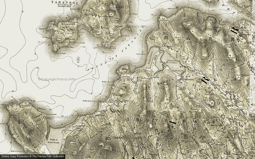 Old Map of Historic Map covering Àird Nisabost in 1908-1911