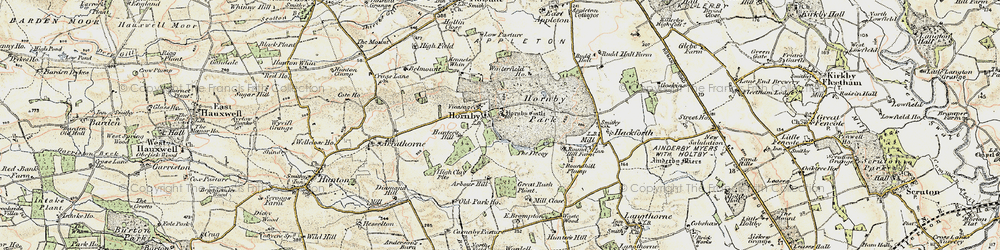 Old map of Hornby in 1904