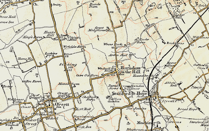 Old map of Horndon on the Hill in 1897-1898