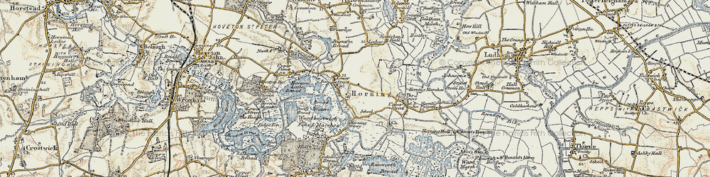Old map of Horning in 1901-1902