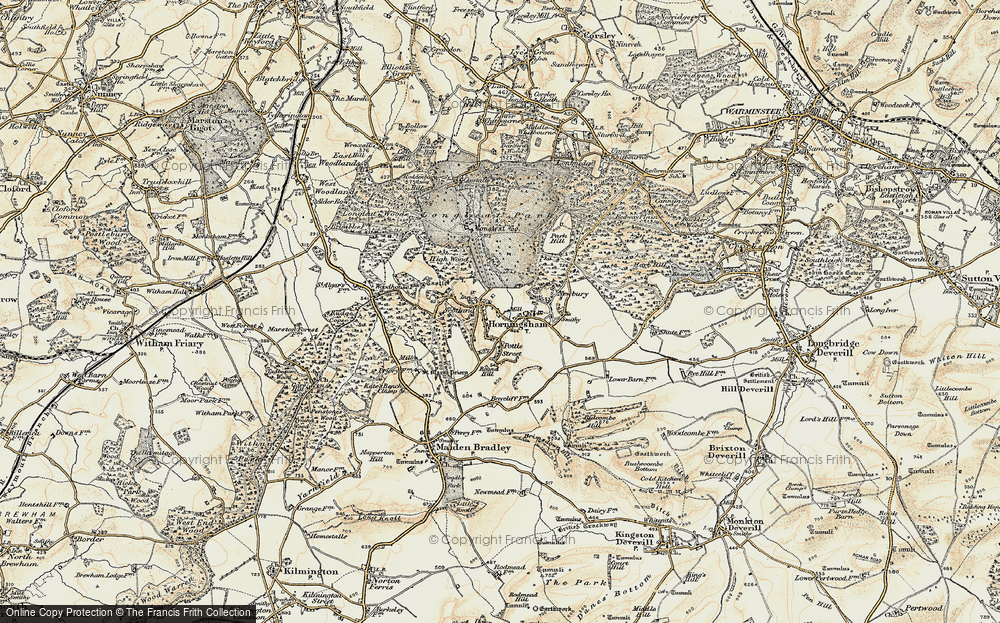 Old Map of Historic Map covering Woodhouse Castle (rems of) in 1897-1899