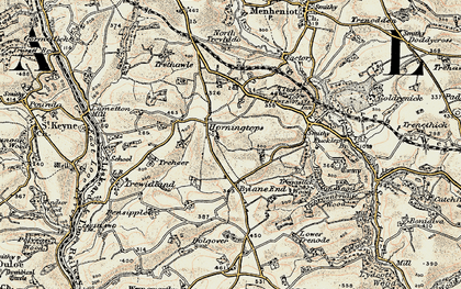 Old map of Horningtops in 1900