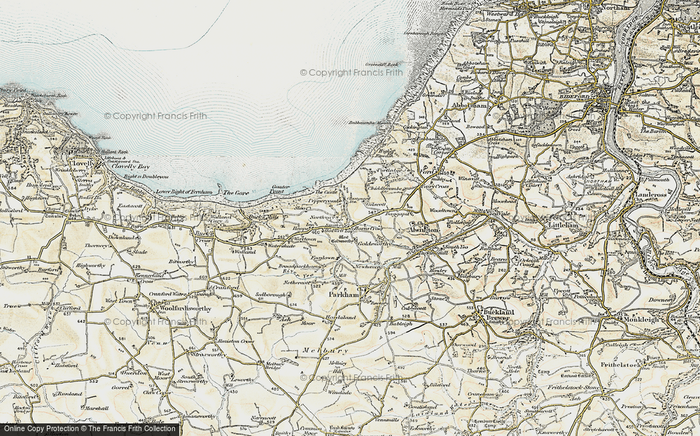 Old Map of Horns Cross, 1900 in 1900
