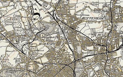 Old map of Hornsey in 1897-1898