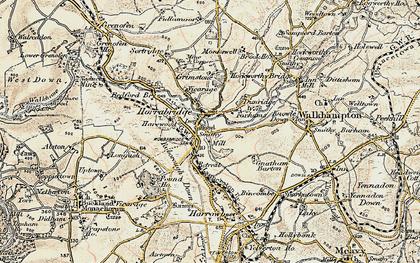 Old map of Horrabridge in 1899-1900