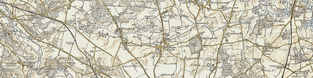 Old map of Horsham St Faith in 1901-1902