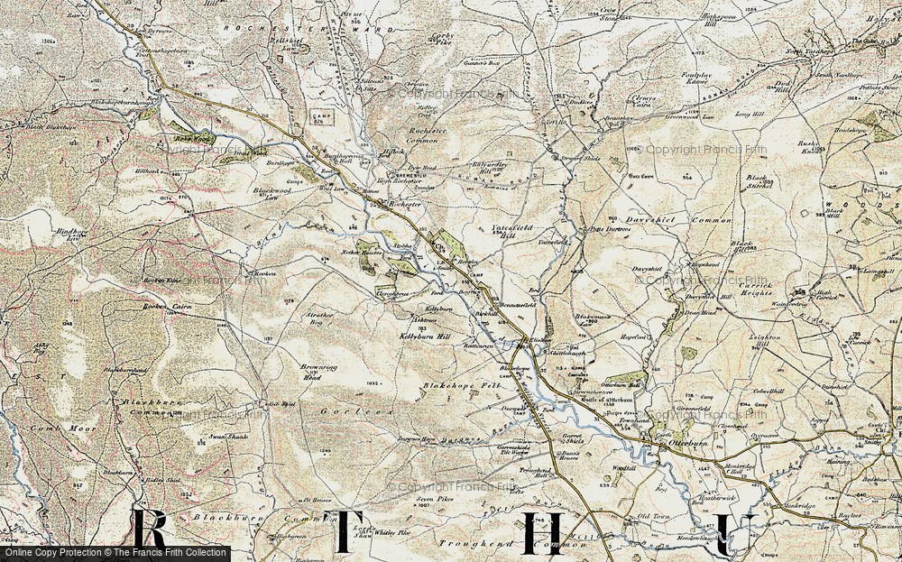 Old Map of Historic Map covering Yatesfield Hill in 1901-1904