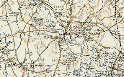 Old map of Horstead in 1901-1902