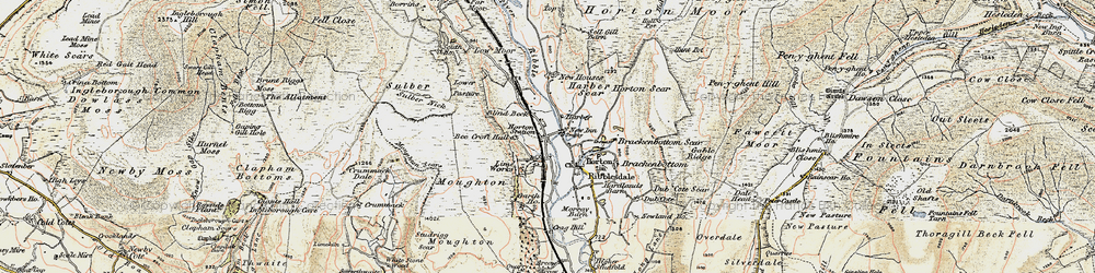 Old map of Horton in Ribblesdale in 1903-1904