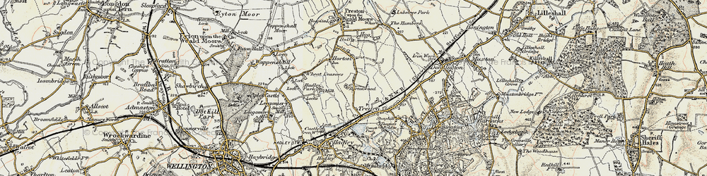 Old map of Wheat Leasows in 1902