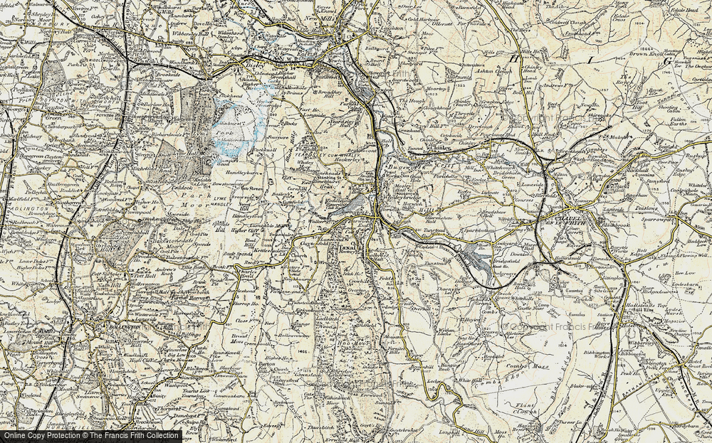 Old Map of Historic Map covering Toddbrook Resr in 1902-1903