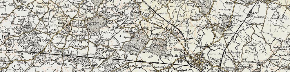 Old map of Hothfield in 1897-1898
