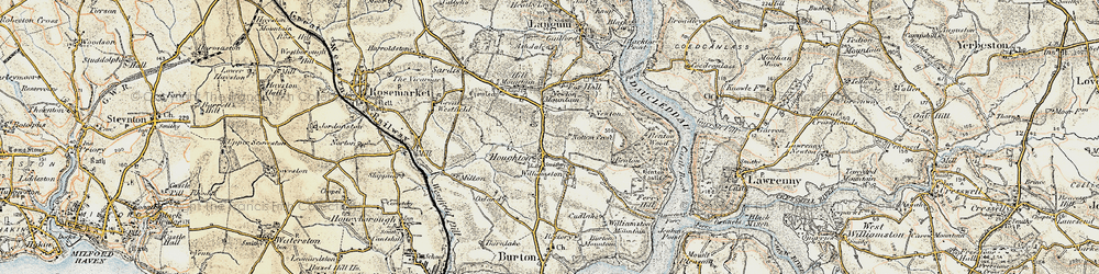 Old map of Thurston in 1901-1912