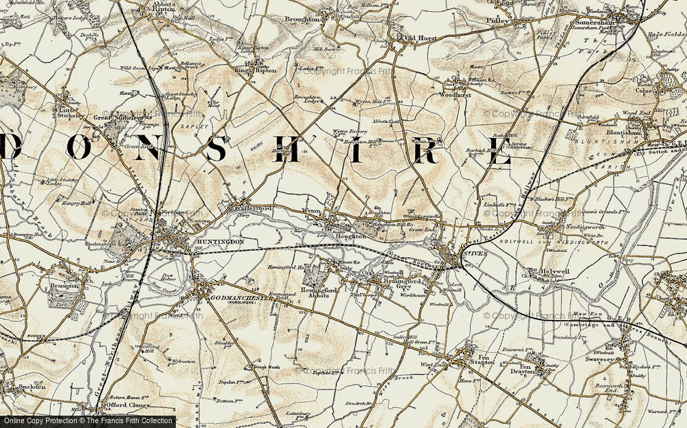 Old Map of Historic Map covering Wyton in 1901
