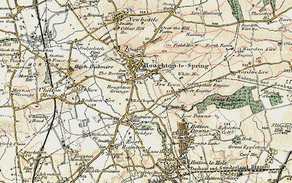 Old map of Houghton-Le-Spring in 1901-1904