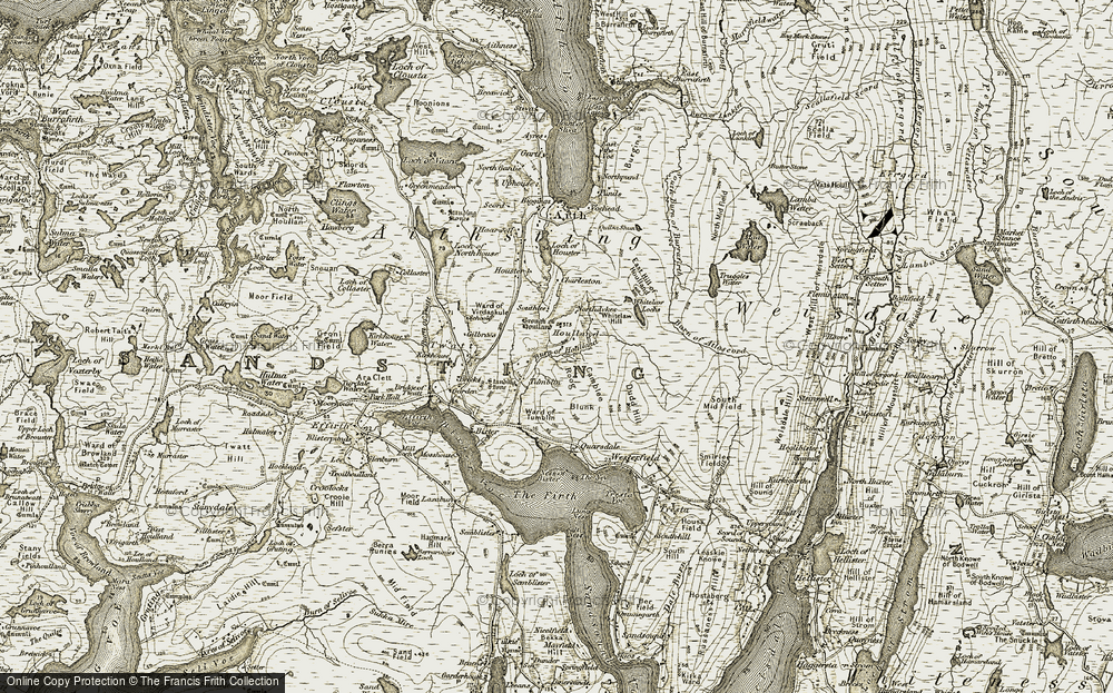 Old Map of Historic Map covering Whitelaw Hill in 1911-1912
