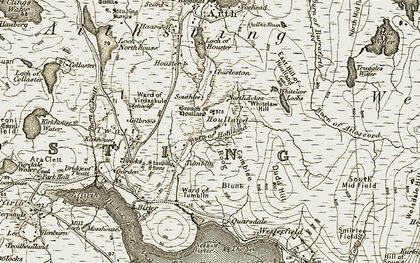 Old map of Whitelaw Loch in 1911-1912