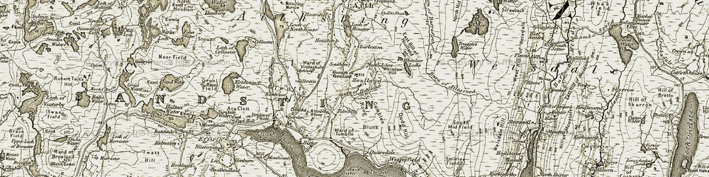 Old map of Whitelaw Hill in 1911-1912