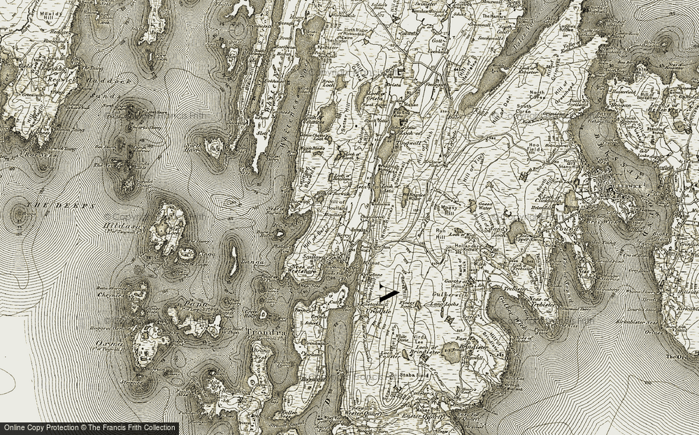 Old Map of Historic Map covering Asta in 1911-1912