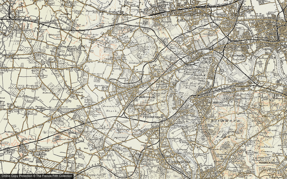 Old Map of Hounslow, 1897-1909 in 1897-1909