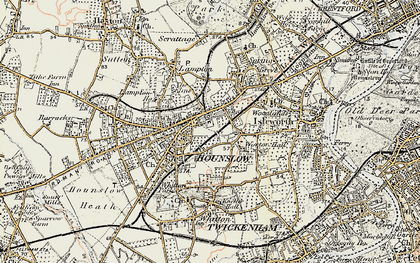 Old map of Hounslow in 1897-1909