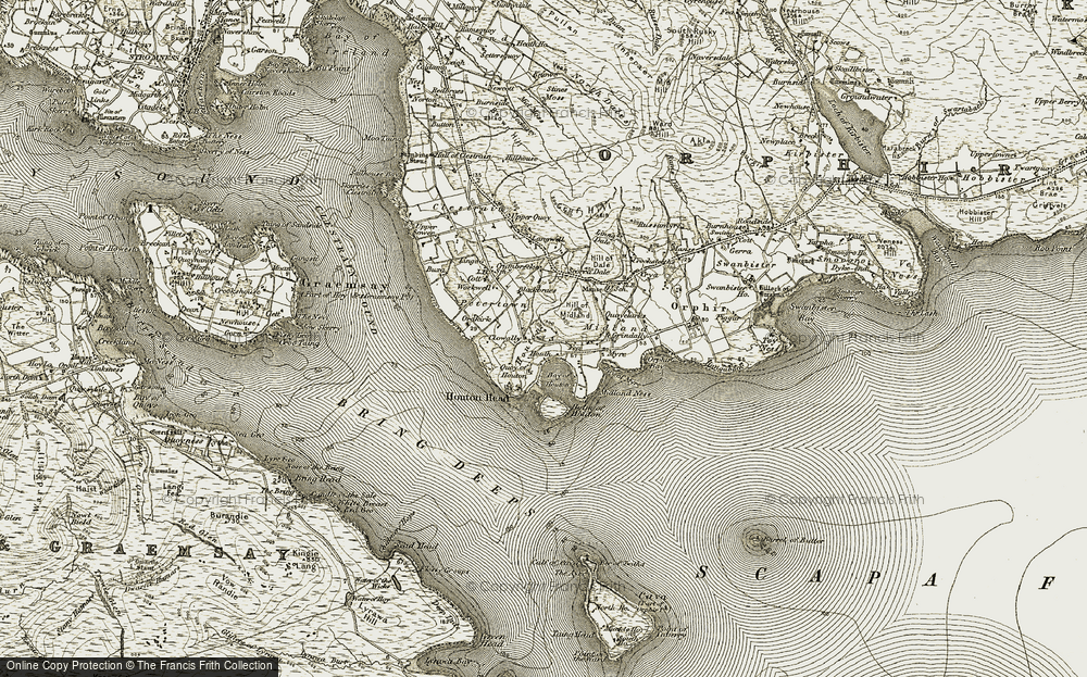 Old Map of Historic Map covering Langwell in 1911-1912