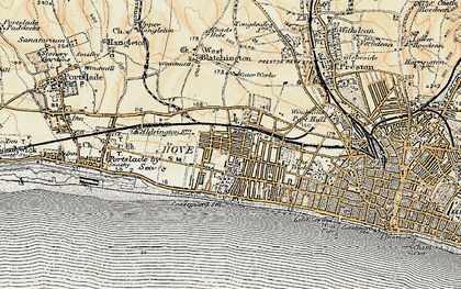 Old map of Hove in 1898