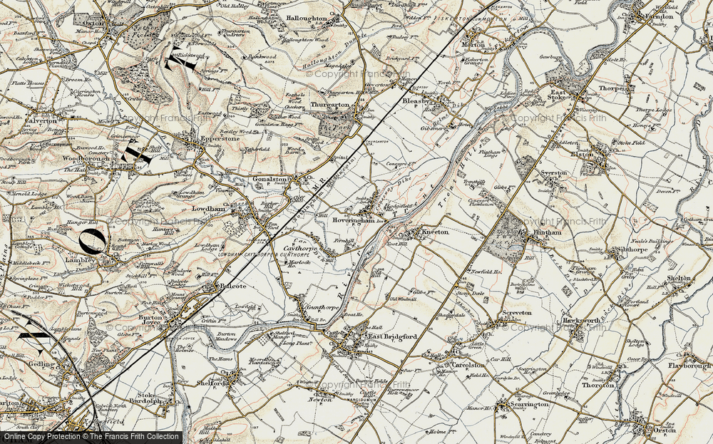 Old Map of Historic Map covering Toot Hill in 1902