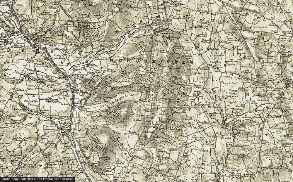 Old Map of Historic Map covering Tifty Burn in 1909-1910