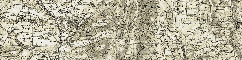 Old map of Tifty Burn in 1909-1910