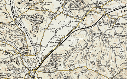 Old map of Worm Brook in 1900