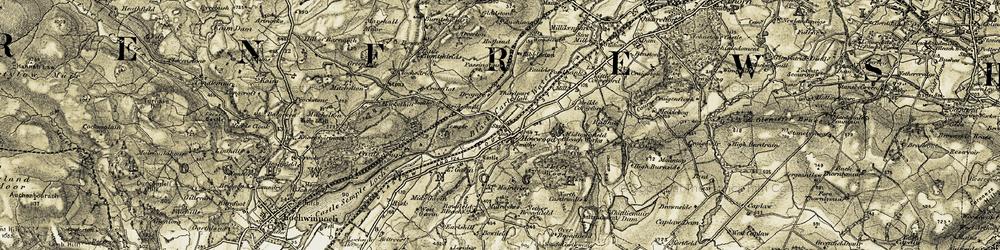Old map of Whittliemuir Midton Loch in 1905-1906