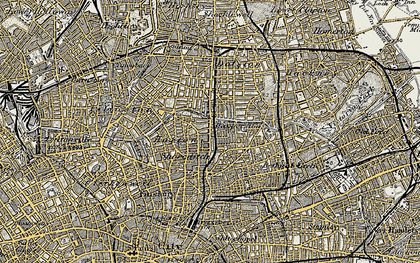 Old map of Hoxton in 1897-1902