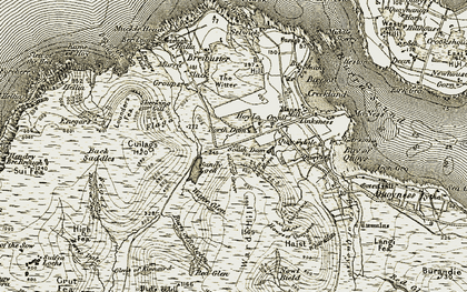 Old map of Hoy in 1912