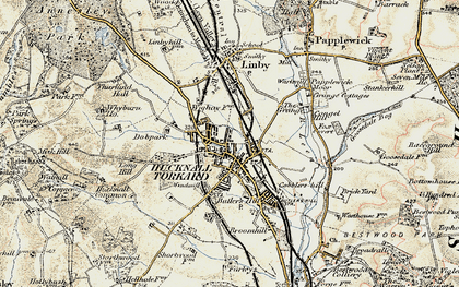 Old map of Hucknall in 1902